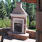 Gas burning outdoor fireplace.