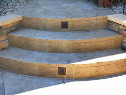 Stamped concrete by Backyards Plus.
