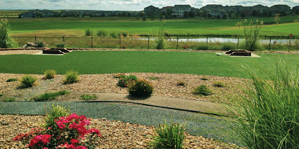 A xeriscaped backyard with fake grass in Highlands Ranch, CO.