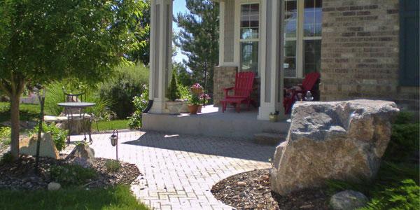 Large boulder at home entrance in Lakewood, CO.