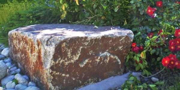 Unique stone in a Denver, CO backyard.