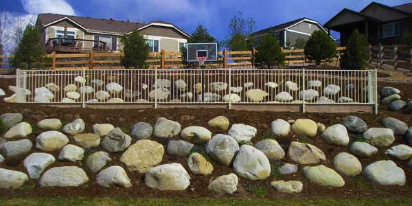 Wall of boulders installed by Backyards Plus.