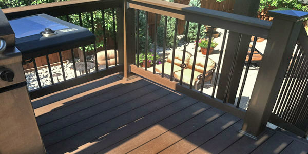 Upper level deck used for grilling and entertaining.
