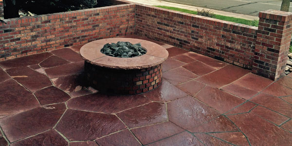 Fire pit in front yard patio.