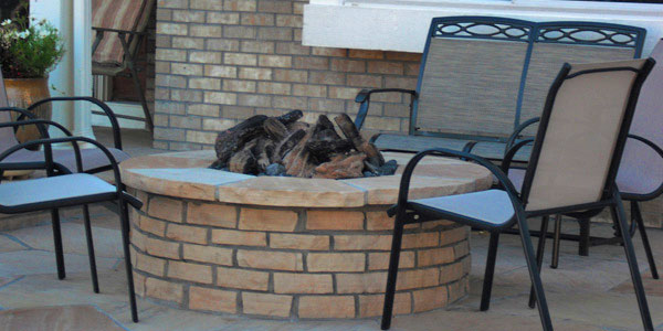 light colored brick fire pit.
