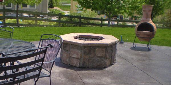 Hexagonal custom fire pit in Colorado.