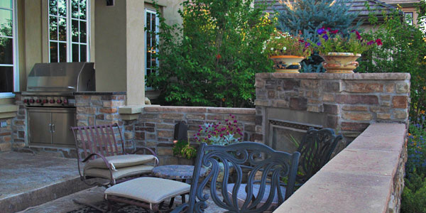 Outdoor fireplace and outdoor kitchen ideas Denver, CO.