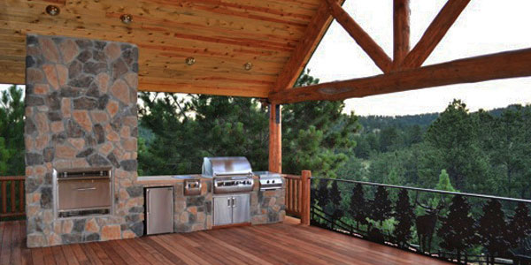 Outdoor fireplace in Evergreen, CO.