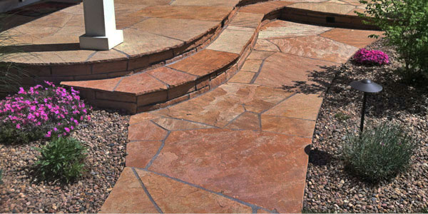 Buff flagstone walkway in Denver, CO.