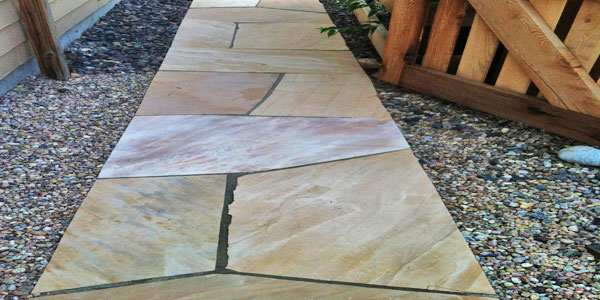 Flagstone walkway in Denver, CO.