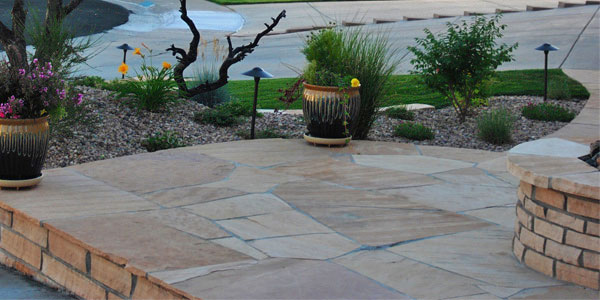 Front yard flagstone patio in Lakewood, CO.