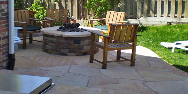 Flagstone patio in Englewood, CO.