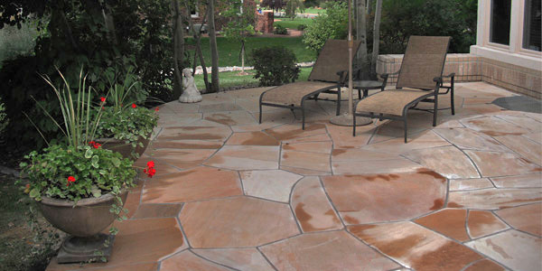 Large flagstone patio installed in Golden, CO.