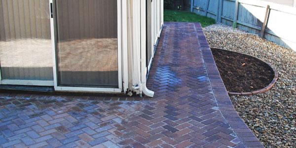 Wrap-around paver patio.
