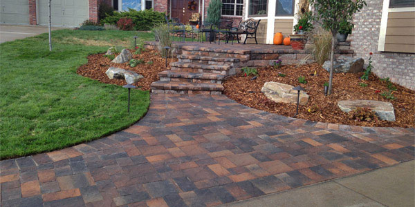 Front yard entrance with pavers.