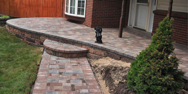 Paver porch and walkway in Arvada, CO.