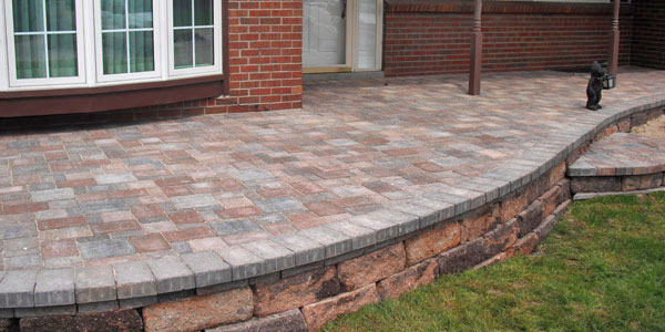Raised paver patio in Denver.