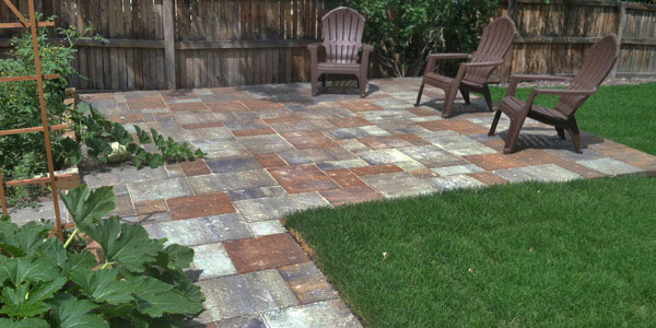 Multi-colored paver patio.