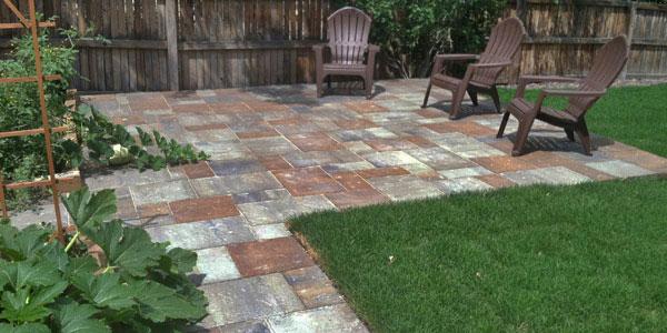 Multi-colored paver patio.