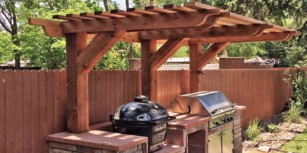 Shade structure for a Denver outdoor kitchen.