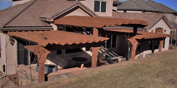 Tiered shade structure design by Backyards Plus in Ken Caryl, CO.
