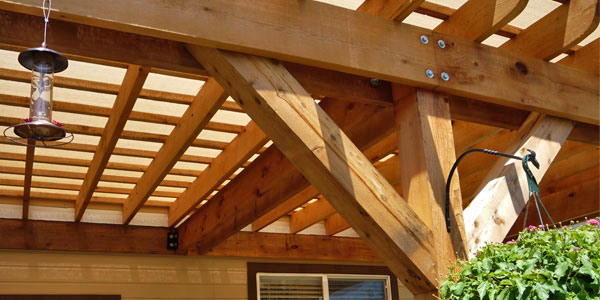 Close up of pergola construction by Backyards Plus.