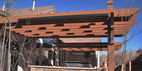Highlands Ranch shade structure for Highlands Ranch outdoor living project.