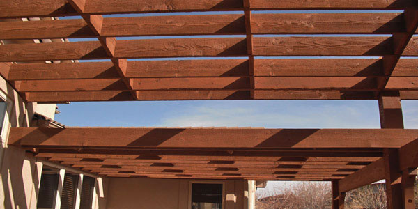 Shade structure detail by Backyards Plus.