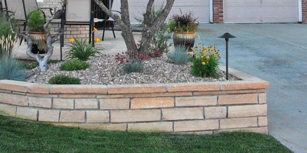 Corner retaining wall.