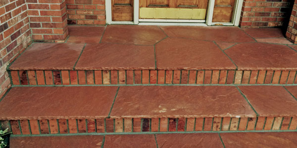 Flagstone and brick front steps in Denver, CO.