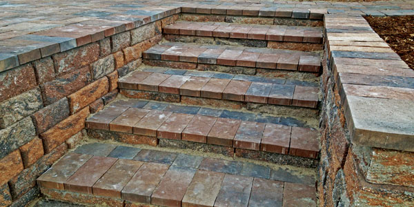 Brick steps built into a patio in Denver.