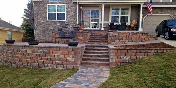 Front stone steps in Lakewood, CO.