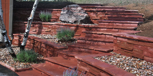 Flagstone steps by Backyards Plus.