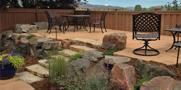 Flagstone steps and patio area in Arvada, CO.
