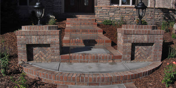 Brick and cement steps at a home in Highlands Ranch, CO.