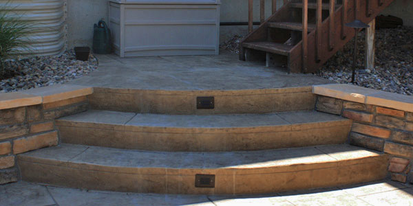 Radial stone steps in Denver, CO.