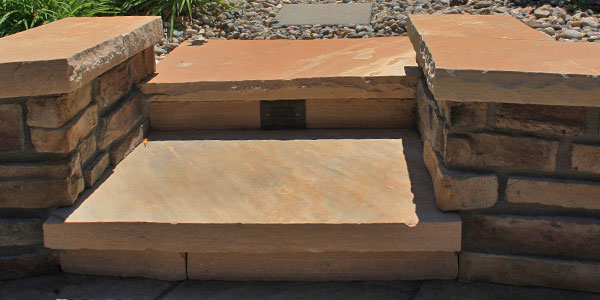 Custom flagstone steps and hardscaping.