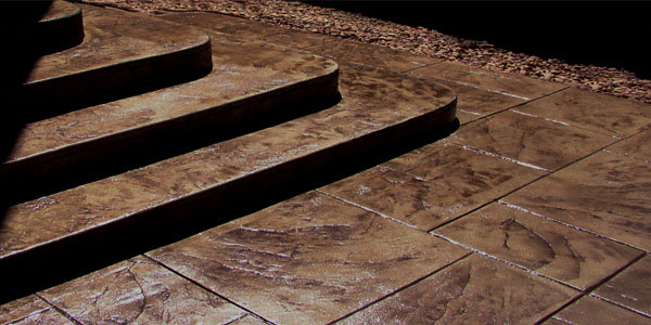 Stamped concrete steps and patio in Denver, CO.