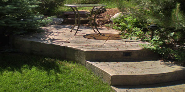 Stamped concrete patio and walkway near Golden, CO.