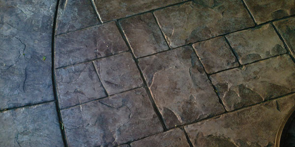 Close up of stamped concrete details.