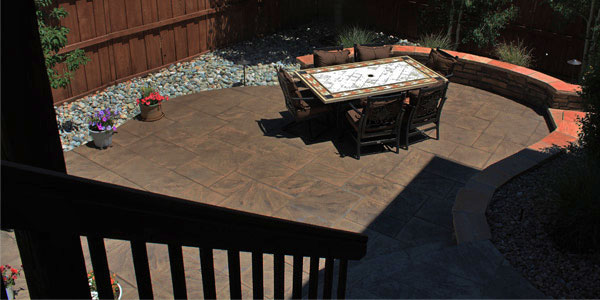 Bird's eye view of a stamped concrete patio in Castle Rock, CO.